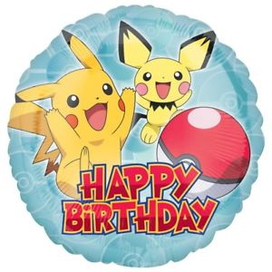Pokemon Pikachiu & Pichu Happy Birthday Balloons - White Spatula Singapore