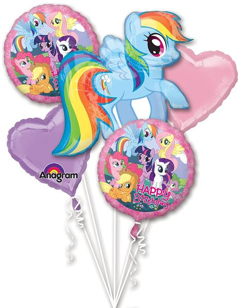 My Little Pony Heart Bouquet Balloons (5 pieces) - White Spatula Singapore