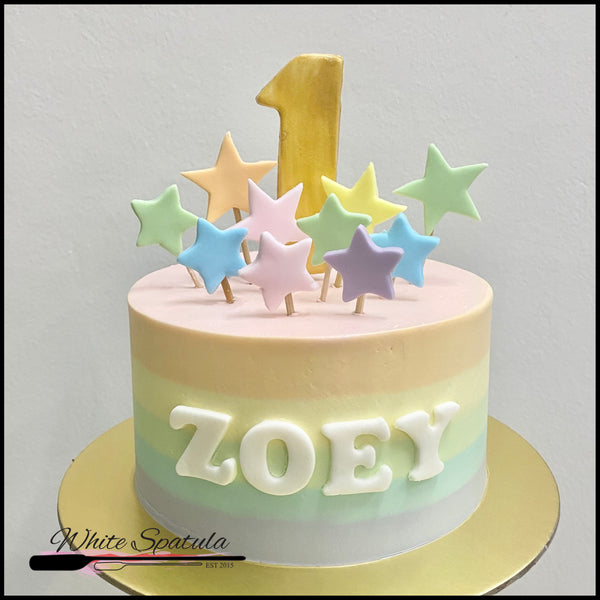 Pastel Rainbow with Stars Buttercream Cake - White Spatula Singapore