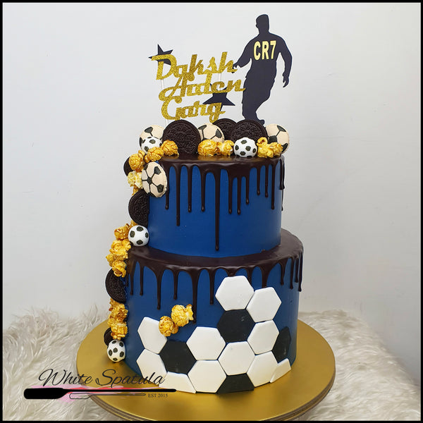 Football/Soccer Tall Buttercream Cake - White Spatula Singapore