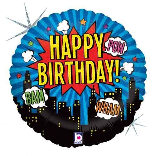 "Super Hero Happy Birtyday Foil Balloons (18"") - White Spatula Singapore"