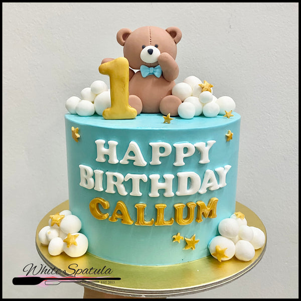 Brown Teddy Bear with Clouds Buttercream Cake