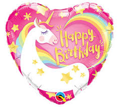 Unicorn Happy Birthday Heart Balloons - White Spatula Singapore
