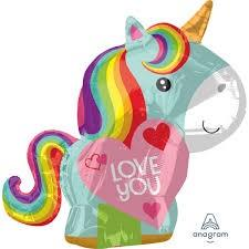 Unicorn Shape Love You Foil Balloons - White Spatula Singapore