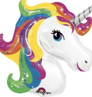 "Unicorn Shape Rainbow Giant Foil Balloons (34"") - White Spatula Singapore"