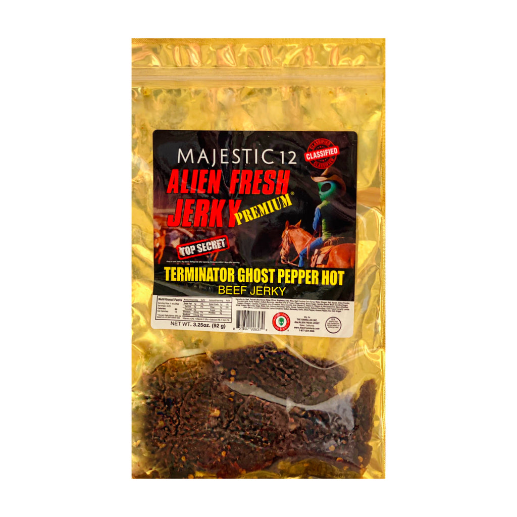 Box of 25 | Terminator Ghost Pepper Hot Beef Jerky  (3.25 oz)