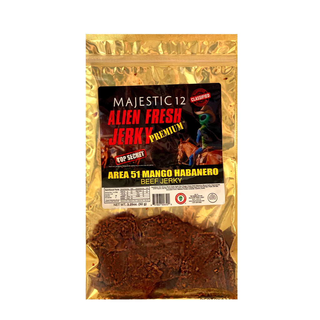Box of 25 | Area-51 Mango Habanero Beef Jerky  (3.25 oz)