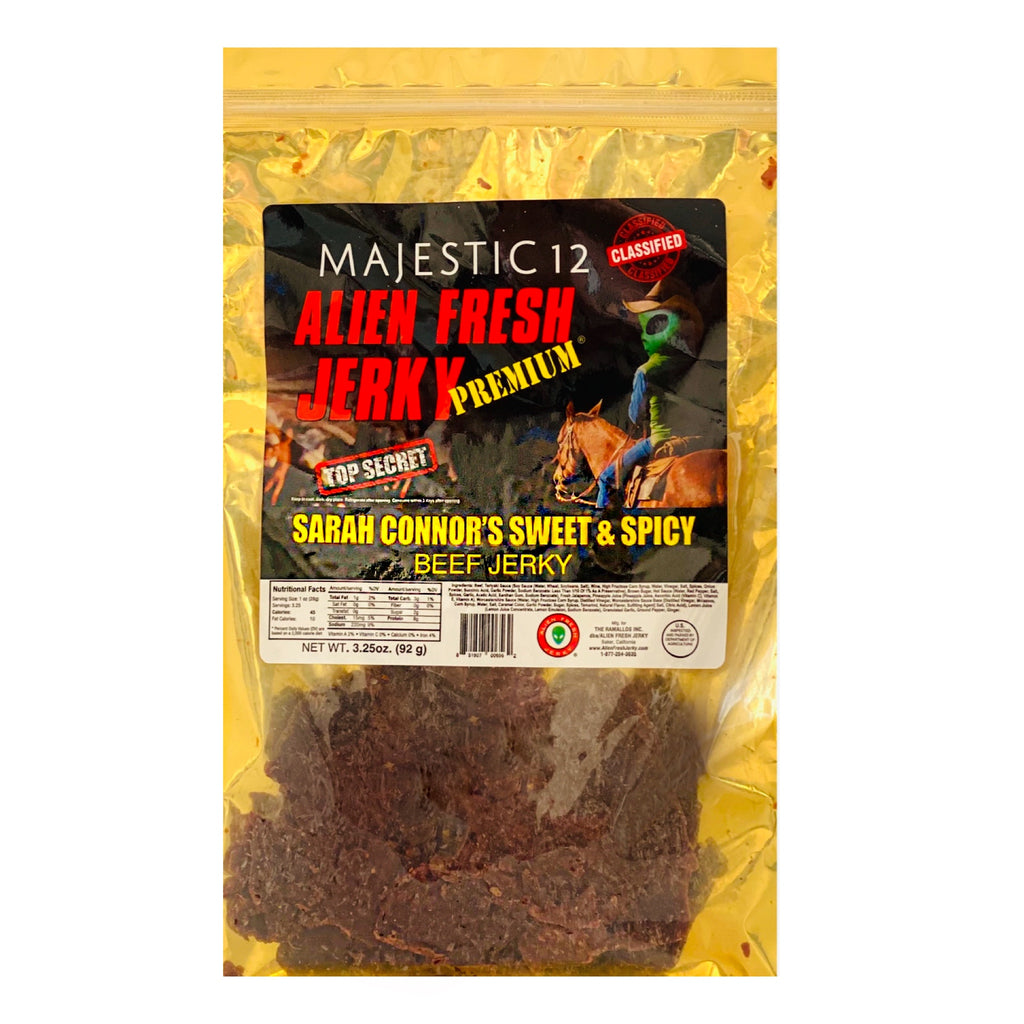 Box of 25 | Sarah Connor's Sweet And Spicy Beef Jerky  (3.25 oz)