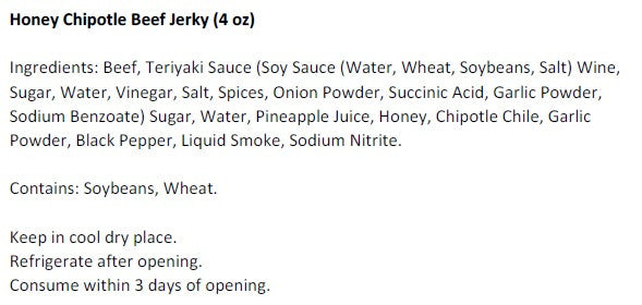 Honey Chipotle Beef Jerky (4 oz) - Ingredients