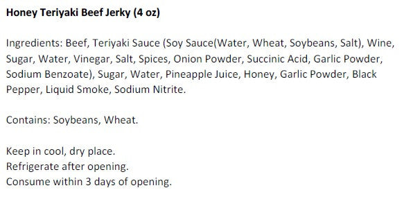 Honey Teriyaki Beef Jerky (4 oz) - Ingredients