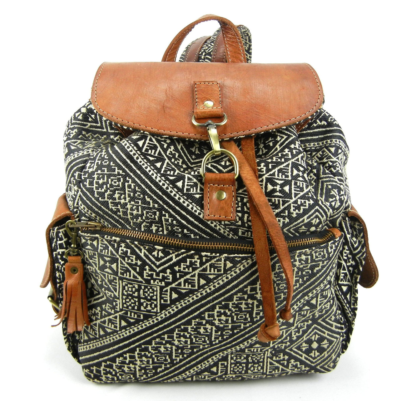 Silk Brocade and Leather Backpack - Hand-woven Geometric Motif