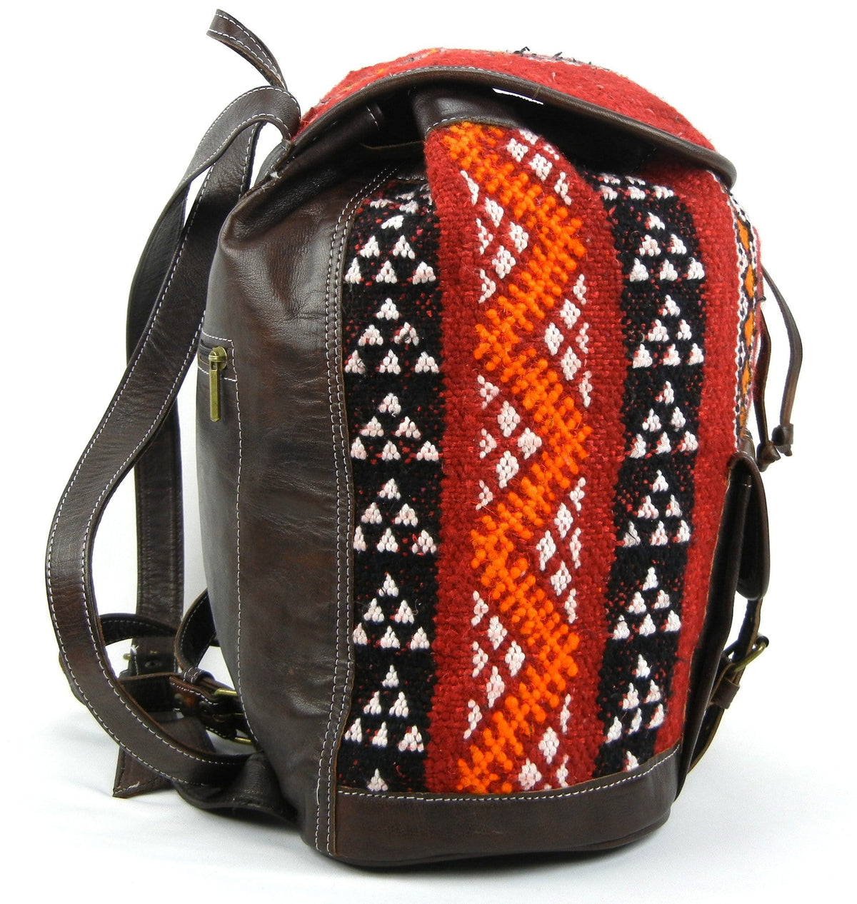 Kilim and Brown Leather Backpack - OneLove Global Imports