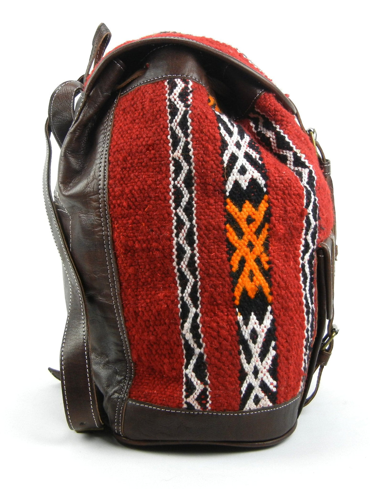 Wool Kilim and Dark Brown Leather Backpack - OneLove Global Imports