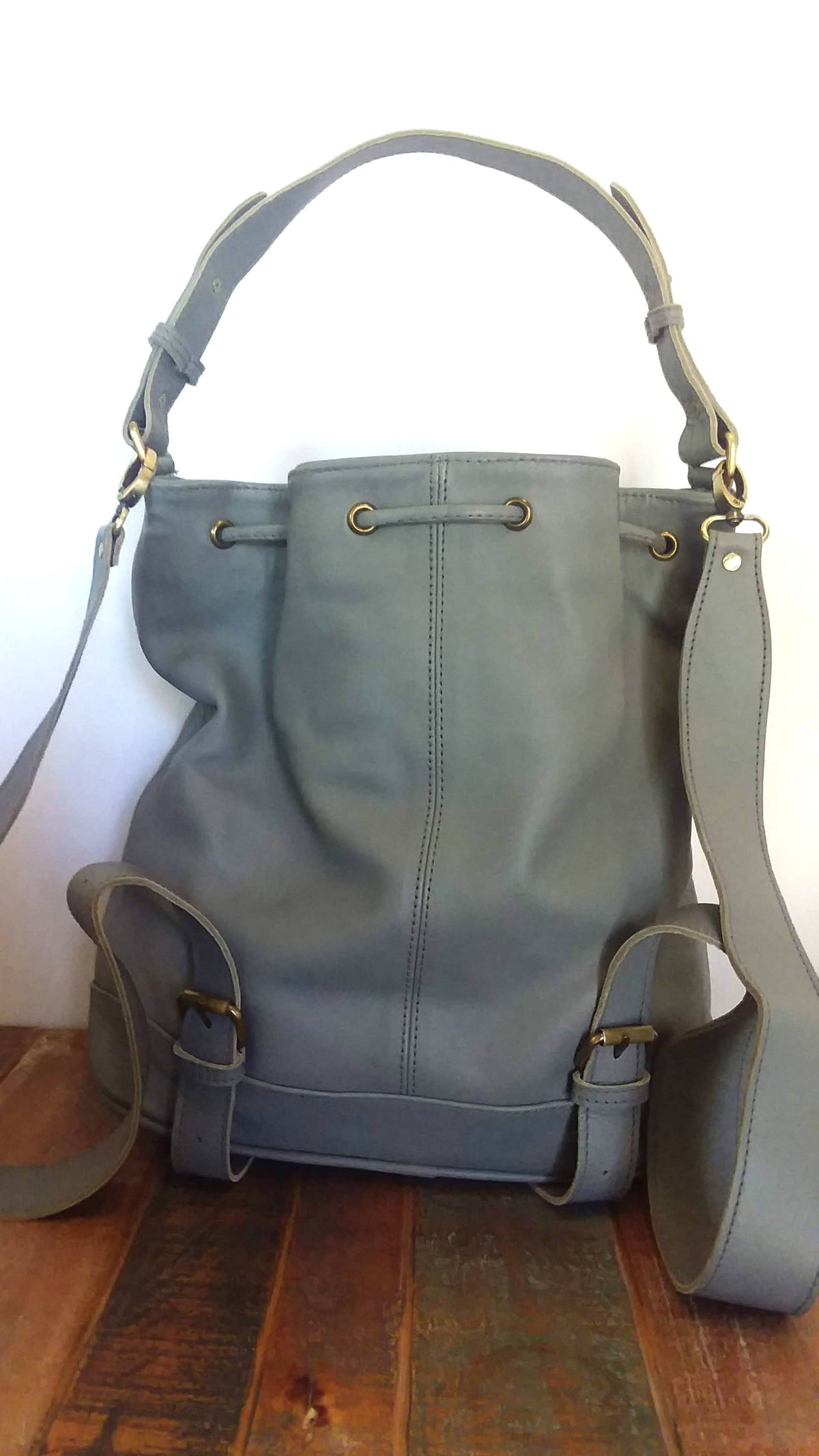 Grey Leather Tote Backpack