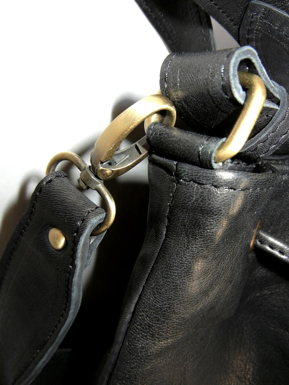 Black Leather Tote Brass Hardware
