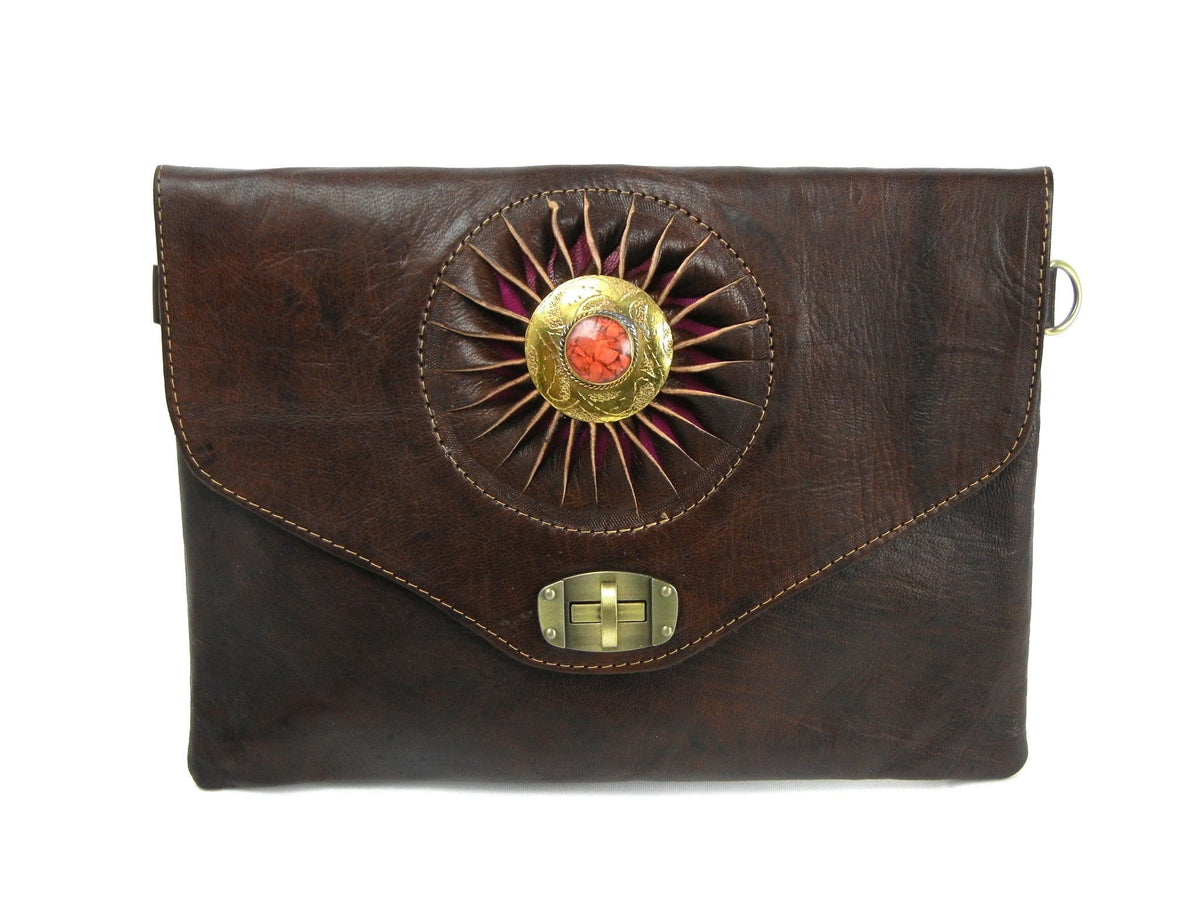 Sunburst Medallion Leather Crossbody