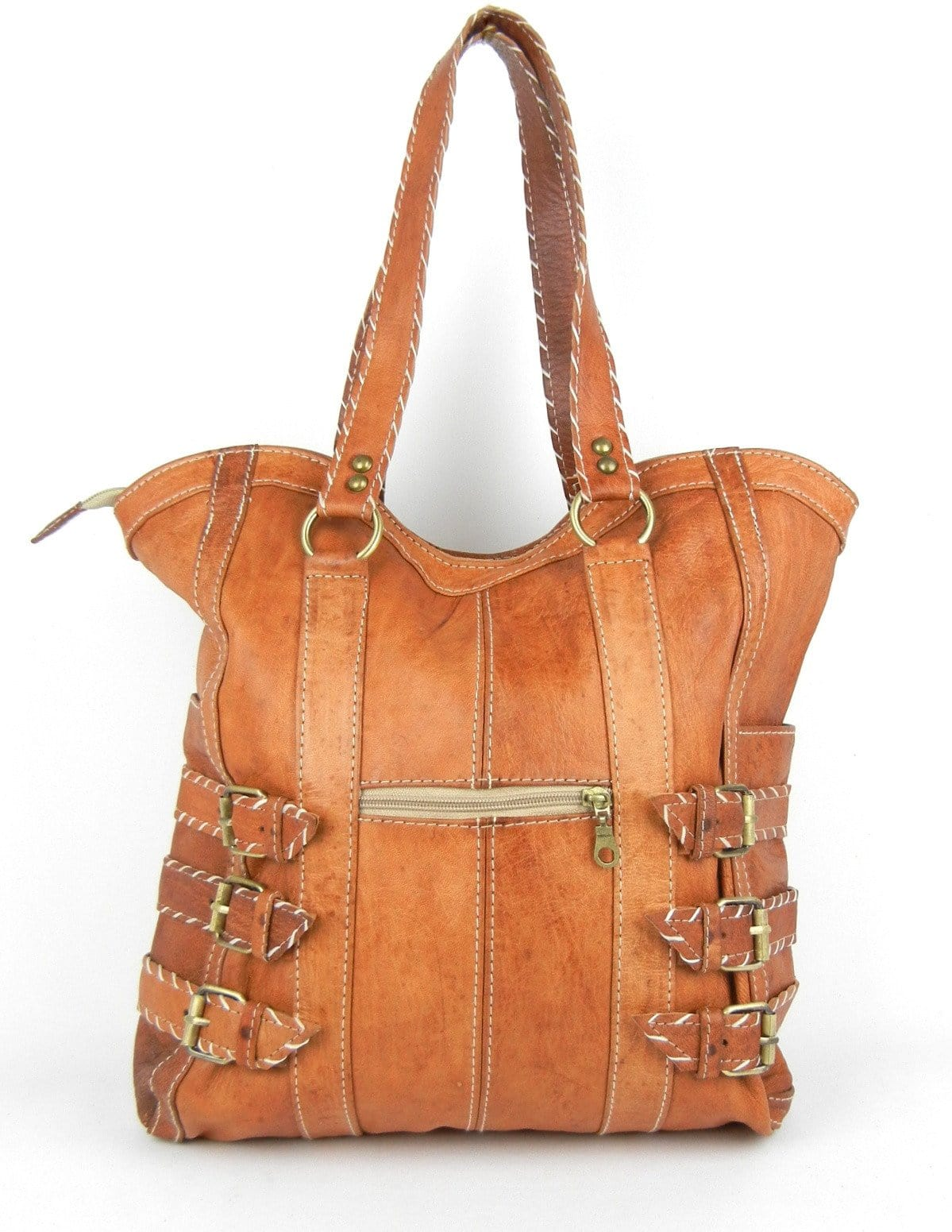 Topstitched Leather Tote - OneLove Global Imports