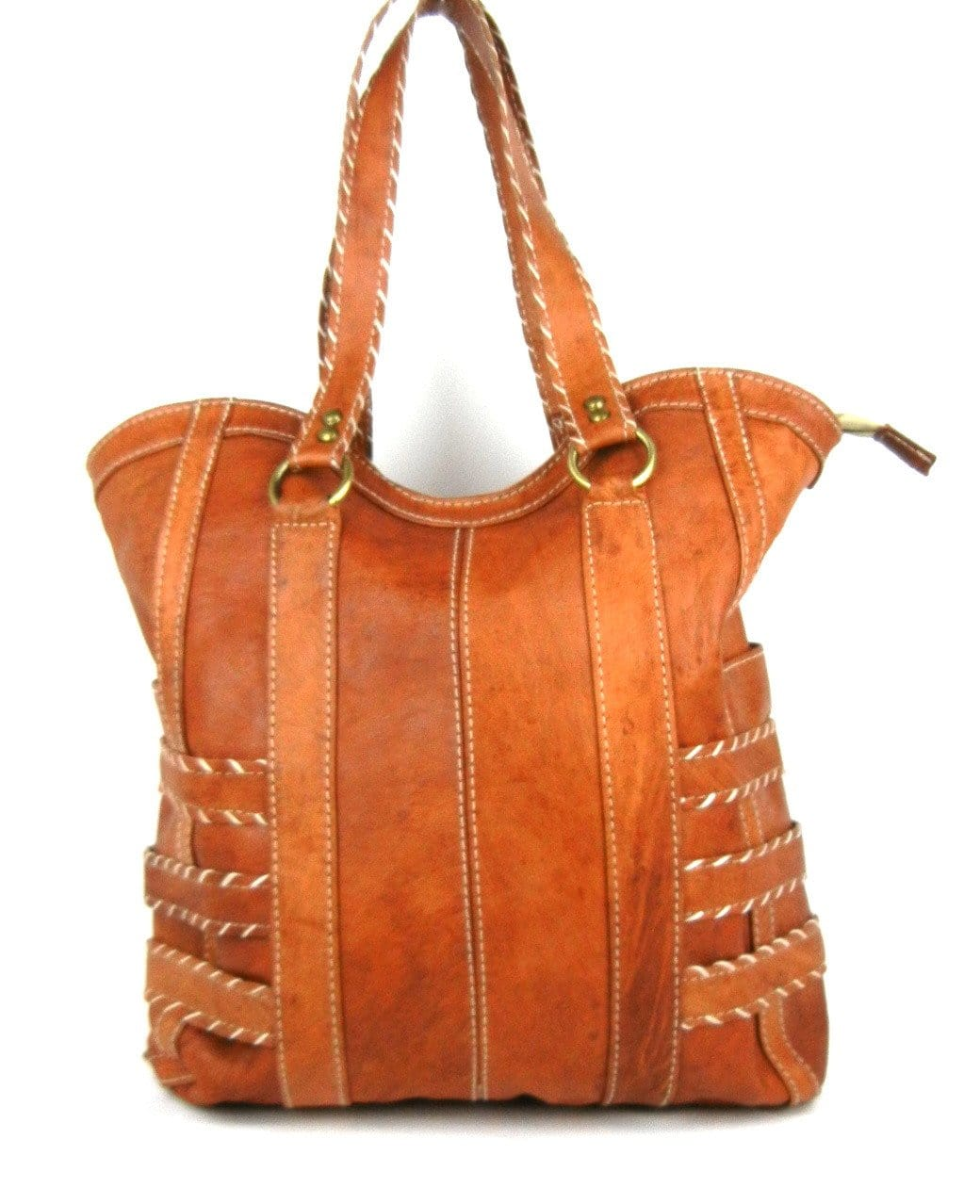 Topstitched Leather Tote