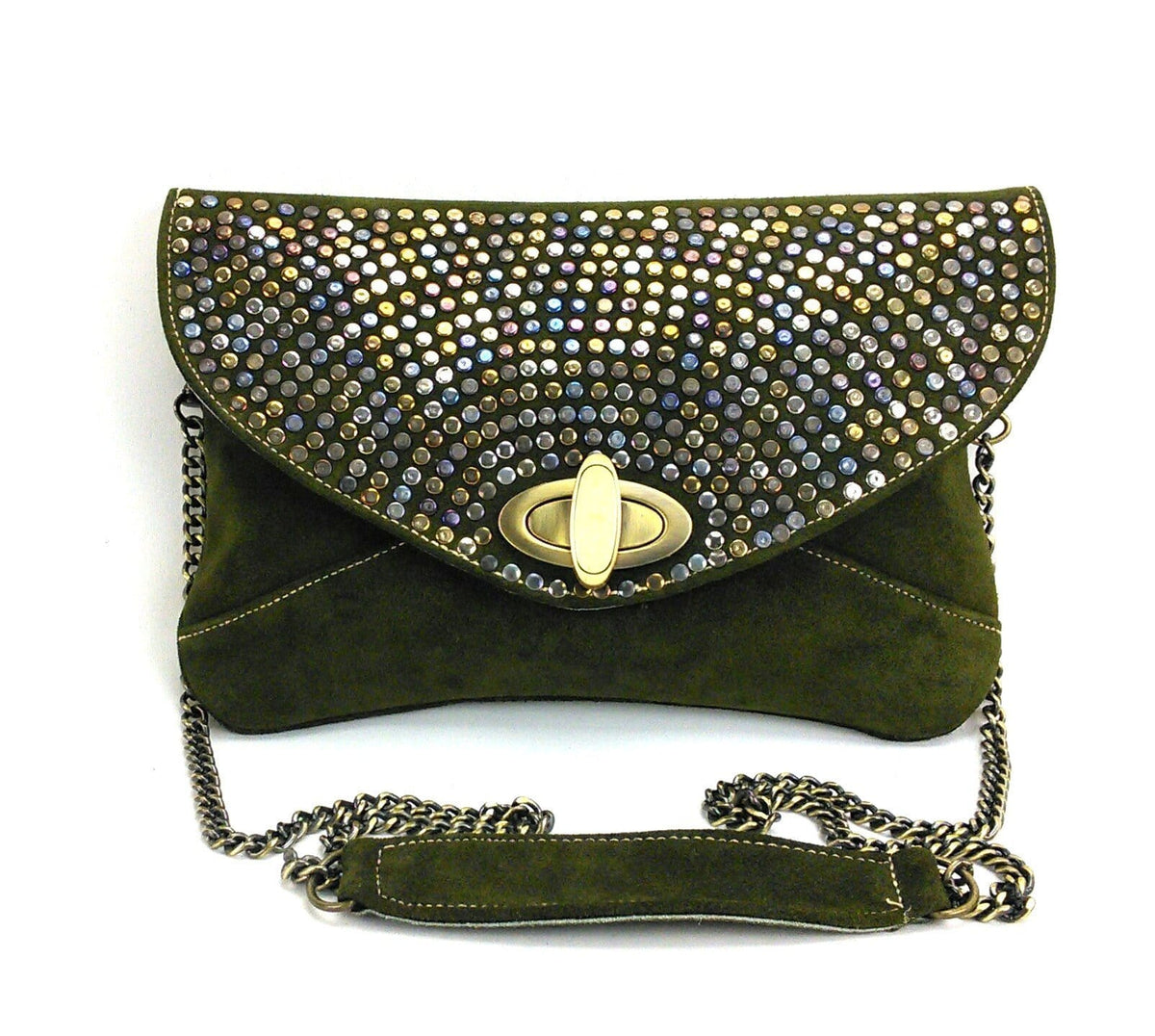 Studded Suede Envelope Crossbody Clutch