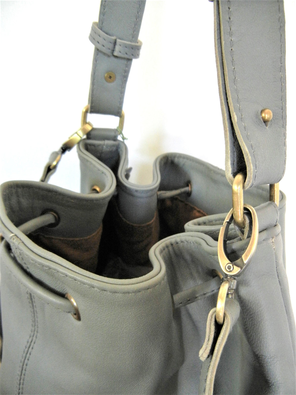 Grey Leather Tote Brass Hardware