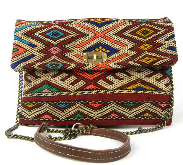 Kilim Clutch - Chainlink Crossbody