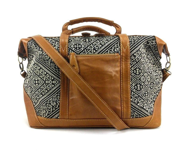 Leather Weekender Overnight Carry On Bag - Handloomed Silk Cotton Brocade