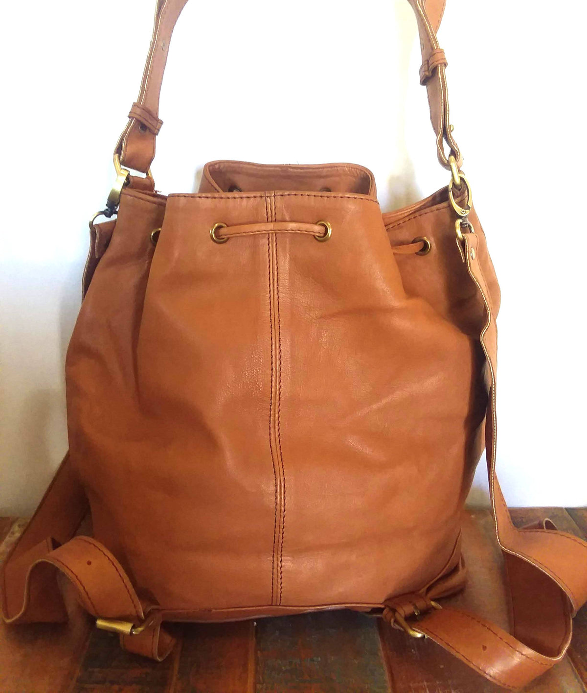 Cognac Leather Backpack Tote