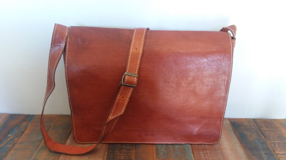 Leather Messenger Bag  -  Discounted due to Imperfection