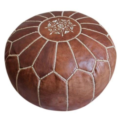 Moroccan Leather Pouf - OneLove Global Imports