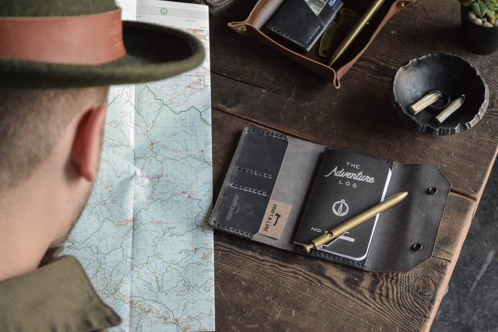 Craft and Lore Adventure Log Leather Wallet Notebook Field Notes Journal