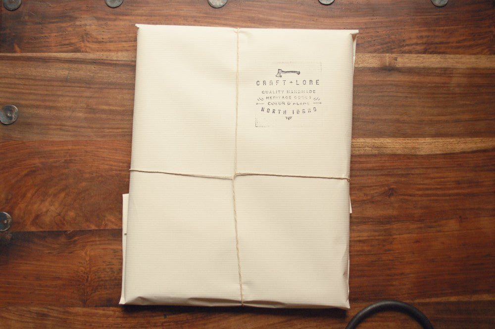 Packaged Horween Leather Notepad Holder in Derby Brown Nut by Craft and Lore