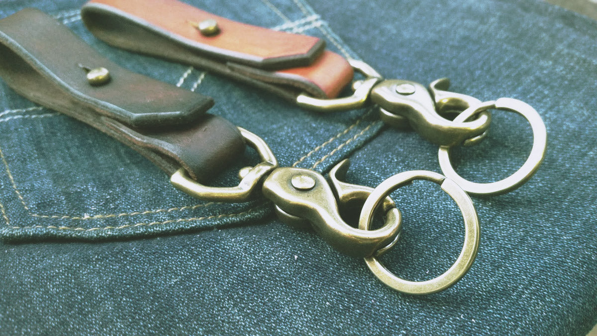 Thick Handmade Leather Keychain with Solid Brass Hardware