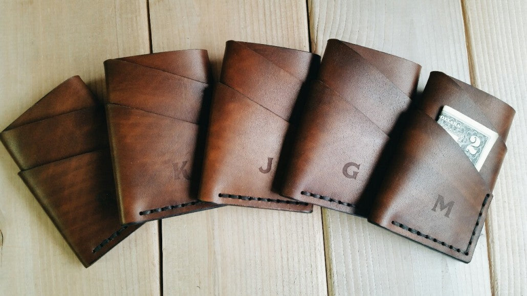 Wedding gift leather wallets for Groomsmen.