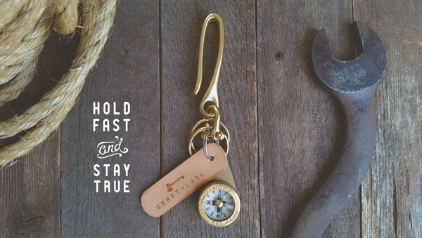 Solid brass key hook and brass Tru-Nord compass