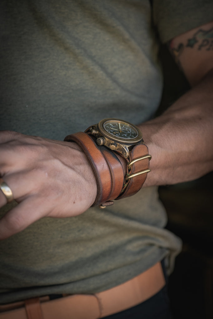 Double wrap leather cuff bronze watch patina chronograph bracelet