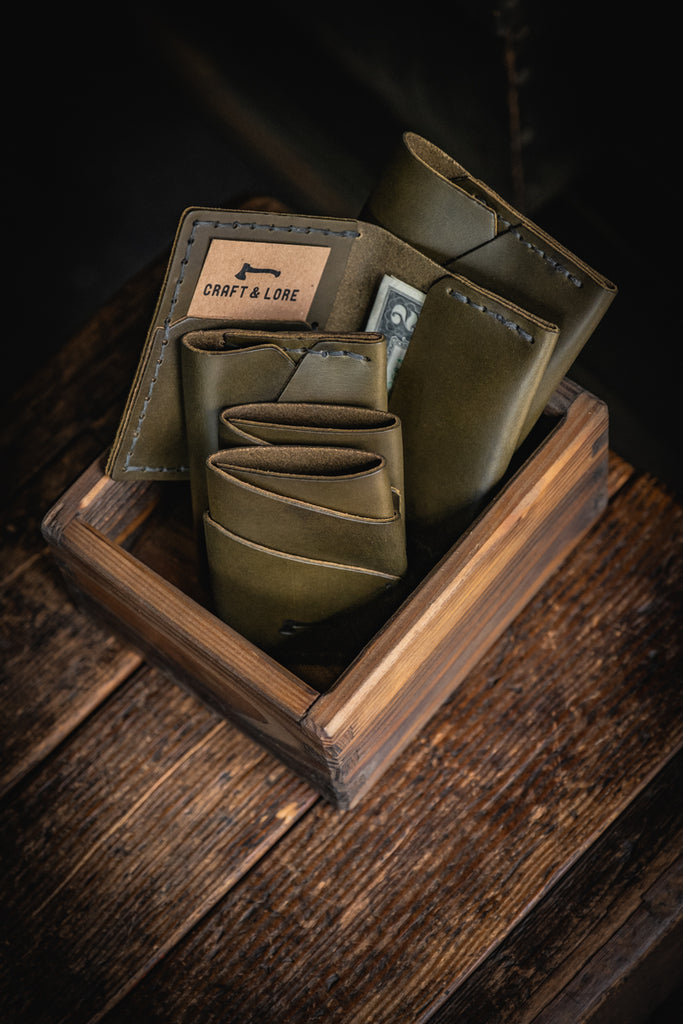Olive Green Leather Wallets Handmade Craft and Lore