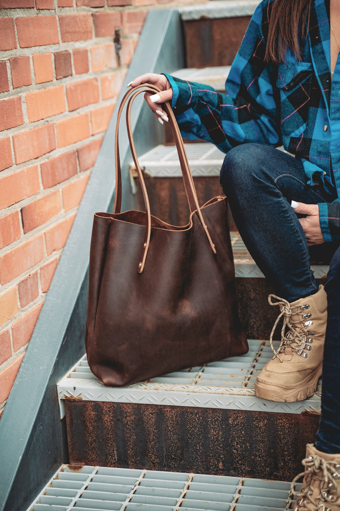 Folkstyle Tote by Craft and Lore handmade rugged thick leather market tote purse