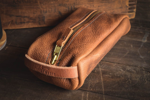 handmade leather dopp kit