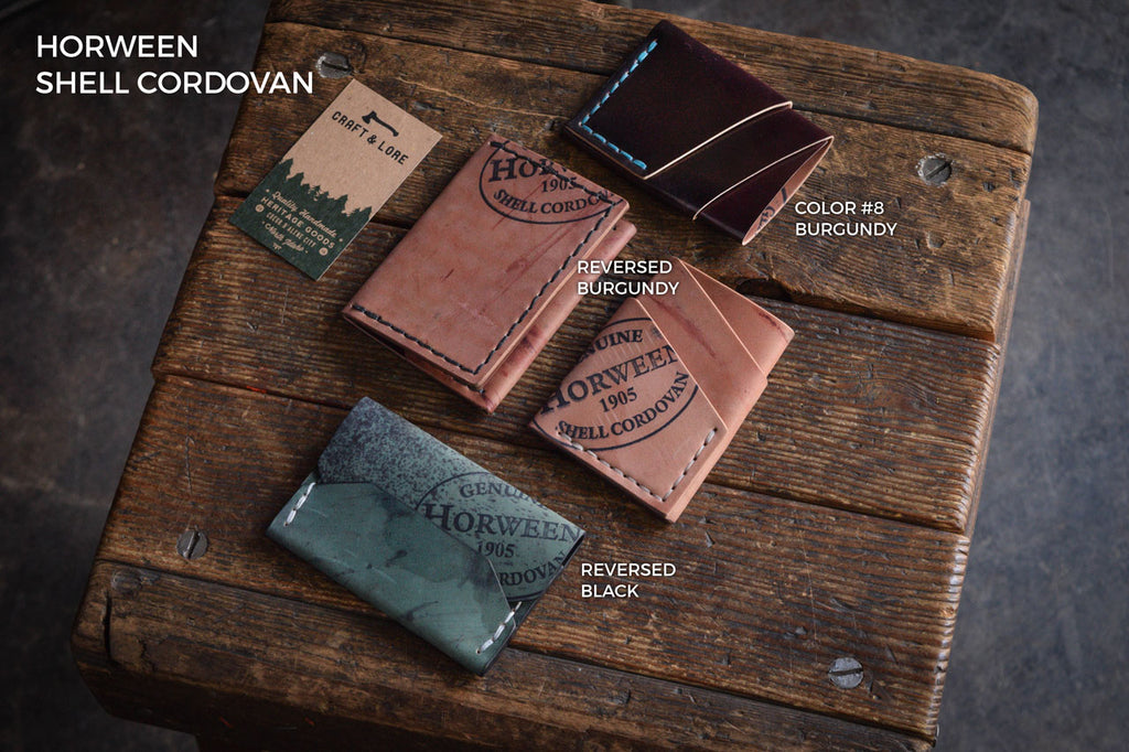 Horween Shell Cordovan Wallets, Reversed Patina Handmade Quality Heritage Heirloom Minimal Card Unique Alternative
