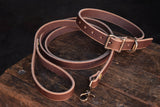Thick Leather Dog Collar and Leash Handmade Quality Durable All Weather Brass PNW K9 Gear