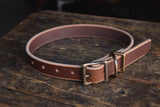 Thick Leather Dog Collar Handmade Quality Durable All Weather Brass PNW K9 Gear