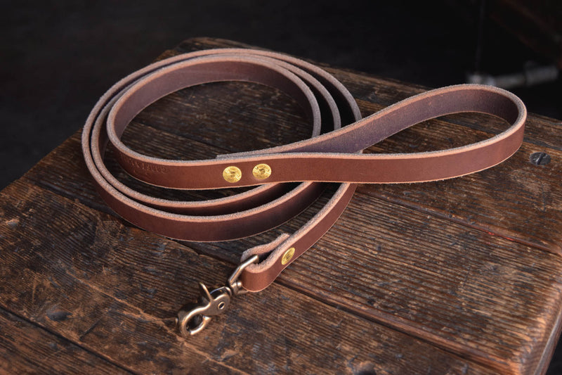 Thick Leather Dog Leash Lead Handmade Quality Durable All Weather Brass PNW K9 Gear