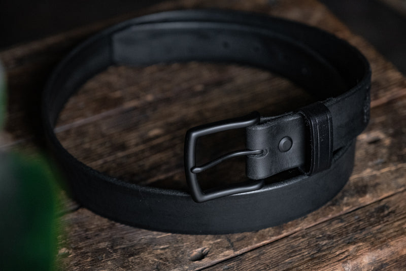 Blackout Leather Belt Black Rugged Thick Gun Durable Quality Handmade USA