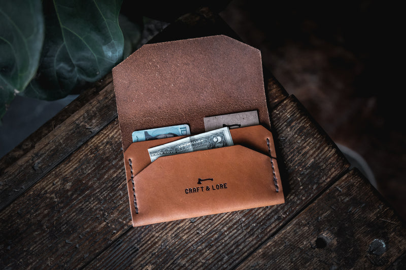 Enfold Wallet Horween Dublin Handmade Quality Durable Alternative Unique Original Design Style Buck Brown Wickett Craig Natural Veg Tan Patina