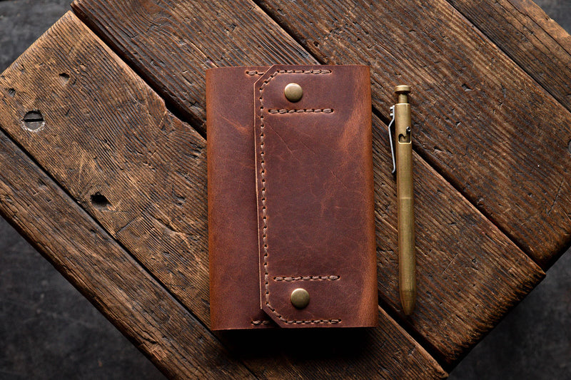 Handmade Leather Check Book Cover Wallet Horween