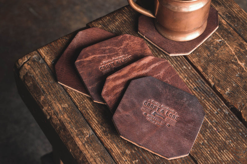 Leather Coaster Set, handmade heavy duty thick rustic coasters