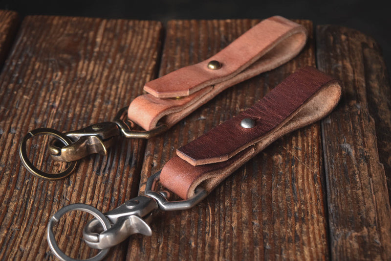 Thick leather key chain brass trigger snap keys keychain kedge durable thick rugged rustic patina handmade usa quality