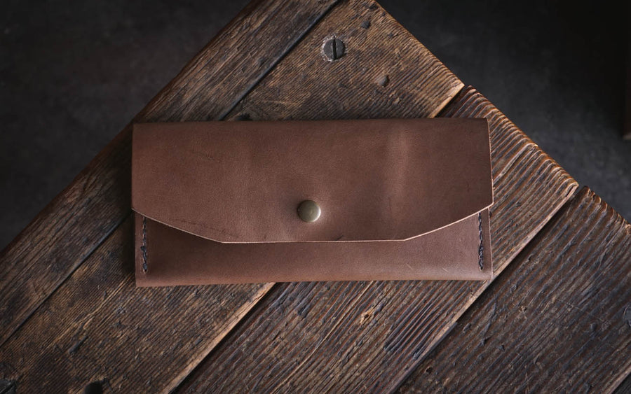handmade leather clutch wallet quality durable horween cell phone case holder