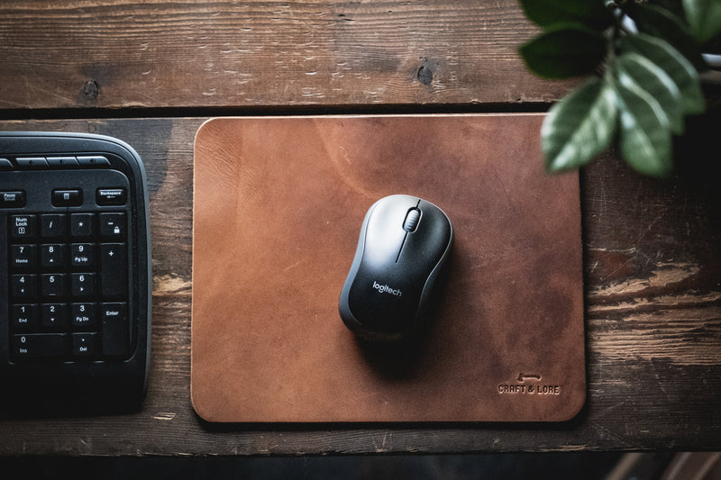 leather mouse pad mousepad handmade computer desktop quality durable macbook keyboard classic pnw magnolia patina farmstyle rustic