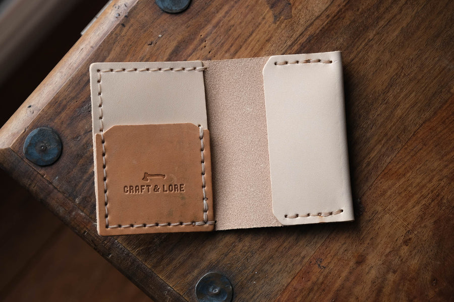 Insider Wallet, Handmade natural veg tan with Horween Shell Cordovan pocket